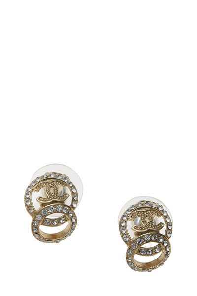 Gold & Crystal CC Circle Earrings Small