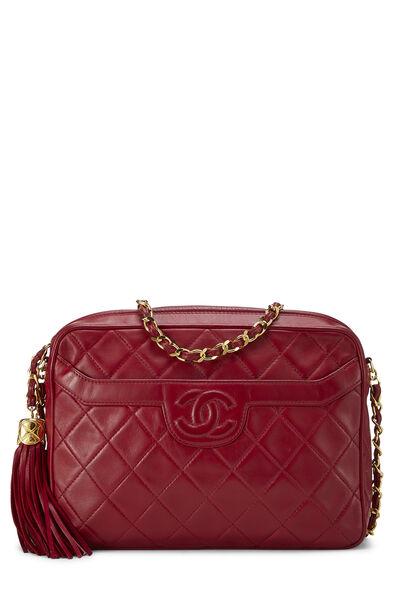 Red Quilted Lambskin Pocket Camera Bag Medium