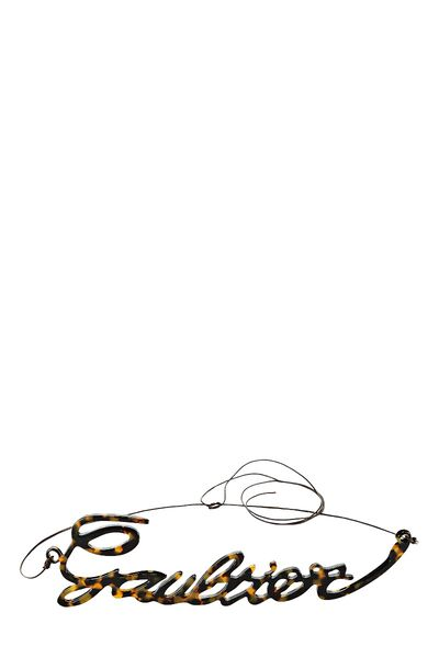 Brown Leather & Faux Tortoiseshell Cursive Logo Belt
