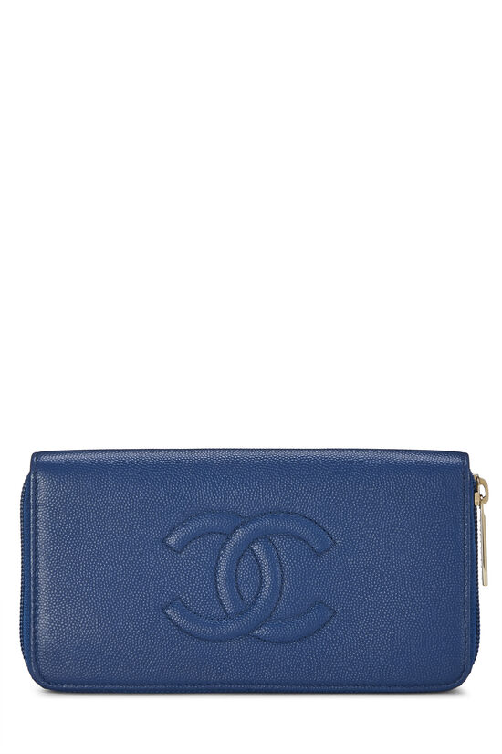 Blue Quilted Caviar Zip Wallet, , large image number 0