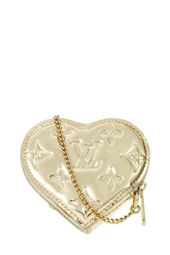 Gold Monogram Miroir Coeur Heart Coin Purse, , large image number 2