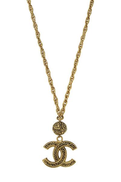 Gold Filigree 'CC' Necklace, , large