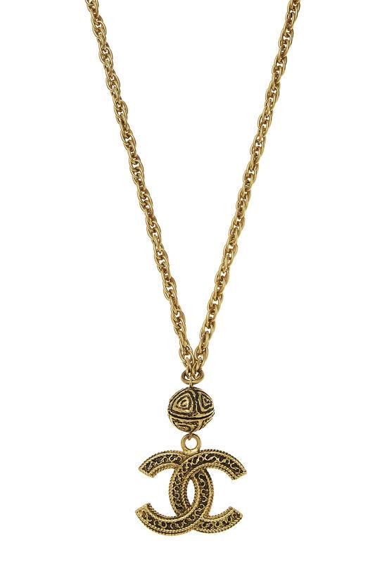 Gold Filigree 'CC' Necklace, , large image number 1