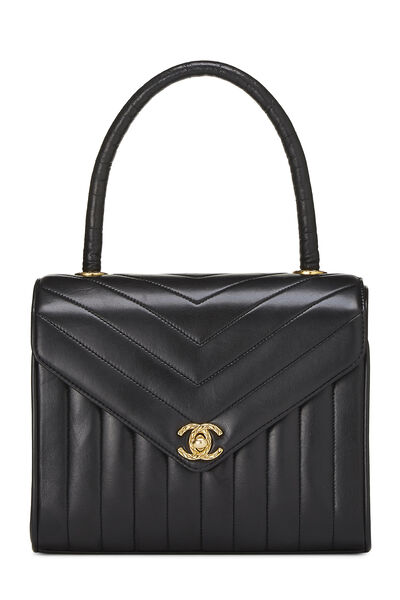 Black Chevron Lambskin Envelope Bag Small