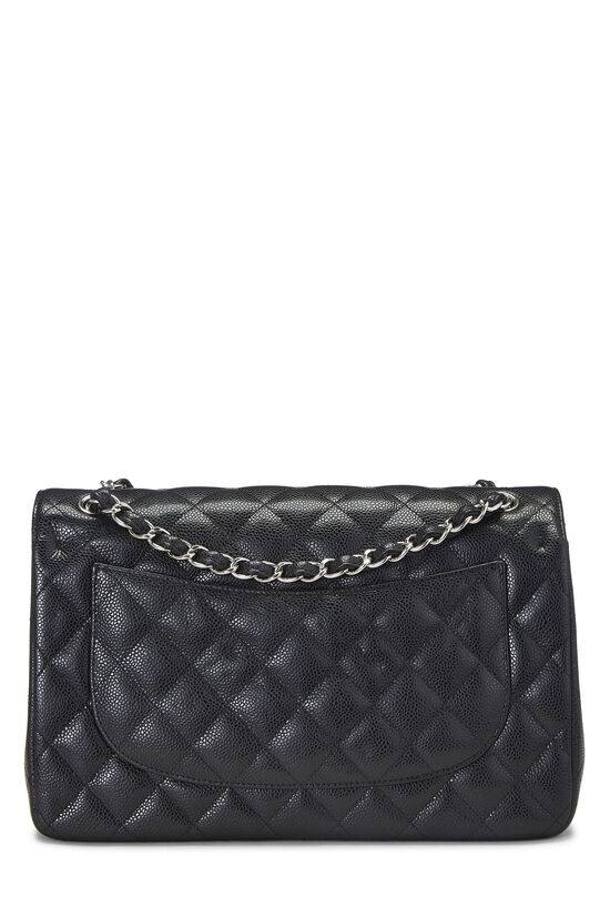 Black Quilted Caviar New Classic Double Flap Jumbo, , large image number 3