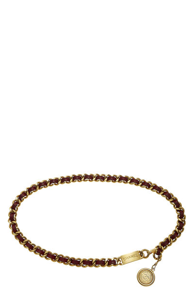 Gold & Red Leather 'CC' Medallion Chain Belt