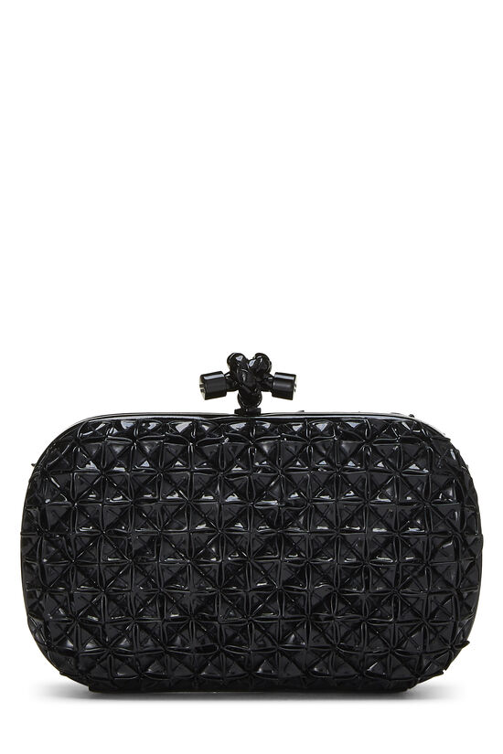 Black Patent Leather Origami Knot Clutch, , large image number 3