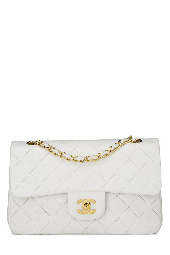 White Quilted Lambskin Classic Double Flap Small, , large image number 0