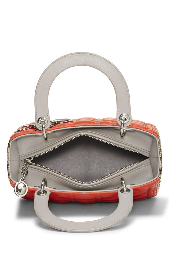 Orange Cannage Quilted Lambskin & Python Lady Dior Medium, , large image number 5