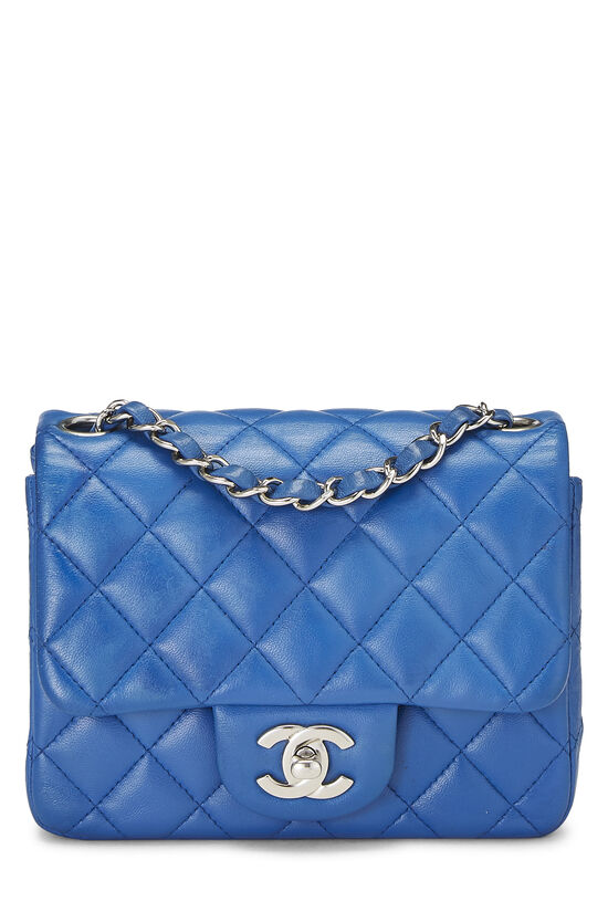 Blue Quilted Lambskin Classic Square Flap Mini, , large image number 0