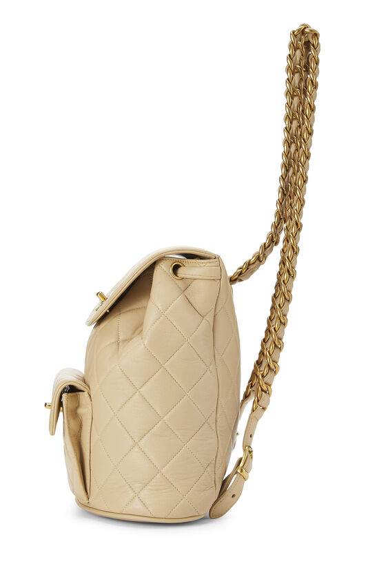 Beige Quilted Lambskin 'CC' Classic Backpack Small, , large image number 2