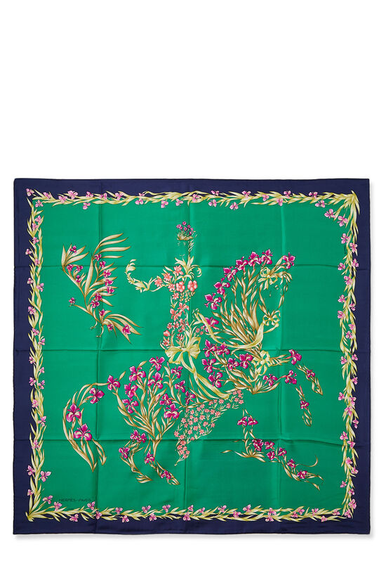 Green & Multicolor 'Cheval Fleuri' Silk Scarf 90, , large image number 0