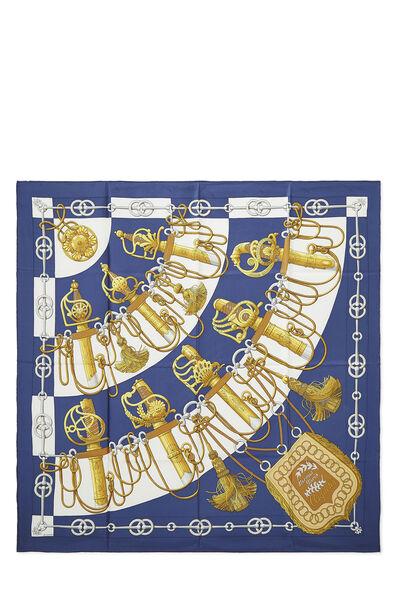Blue & Multicolor 'Cliquetis' Silk Scarf 90