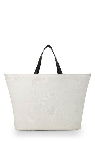 White Camellia Terry Cloth Tote XL