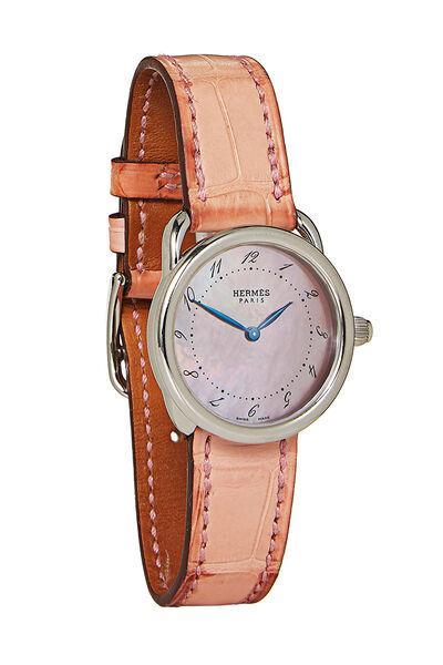 Hermes Pink Crocodile Arceau Chronograph TGM
