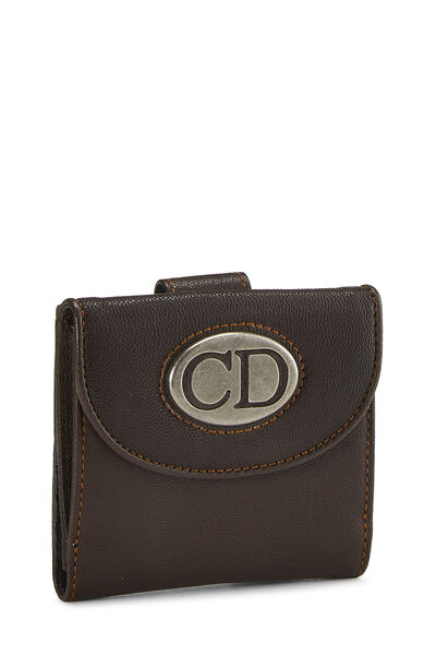 Brown Leather Logo Compact Wallet, , large