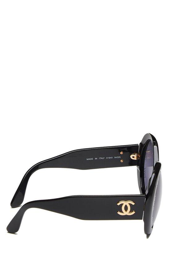 Black Acrylic Round Sunglasses, , large image number 2