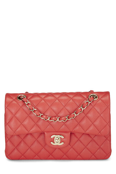 Red Quilted Caviar Classic Double Flap Small