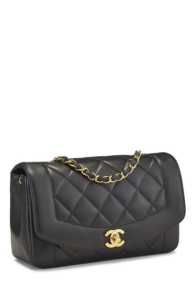 Black Quilted Lambskin Diana Flap Small, , large