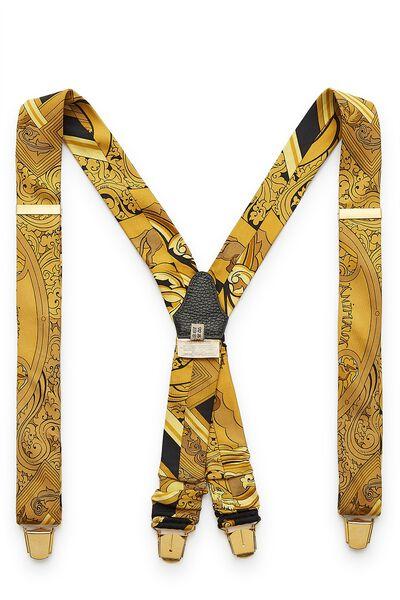 Yellow & Black Silk Suspenders