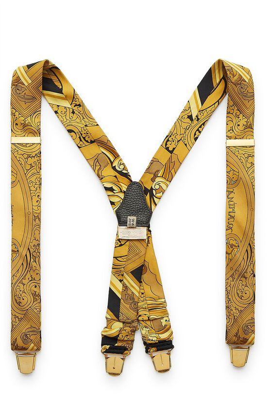 Yellow & Black Silk Suspenders, , large image number 0