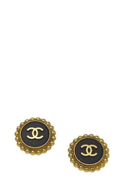 Black & Gold 'CC' Round Dot Border Earrings