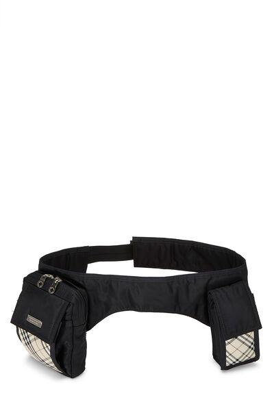 Black Nylon Check Belt Bag