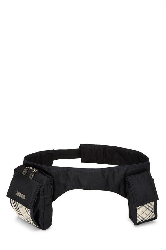 Black Nylon Check Belt Bag, , large image number 0