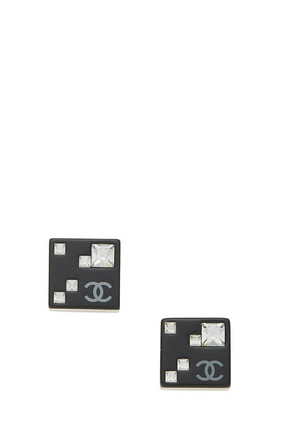 Black Acrylic Square Earrings