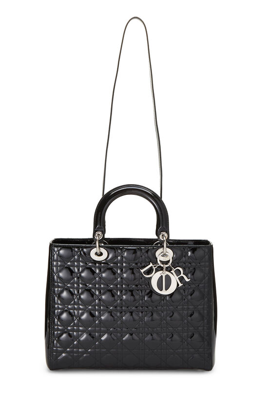 Black Cannage Quilted Patent Lady Dior Large, , large image number 6