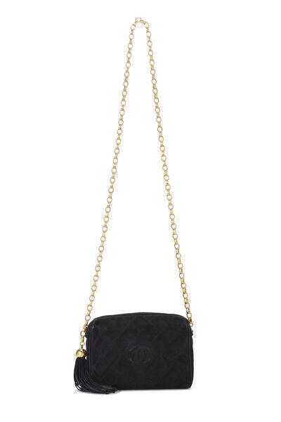 Black Suede Diamond 'CC' Camera Bag Mini, , large