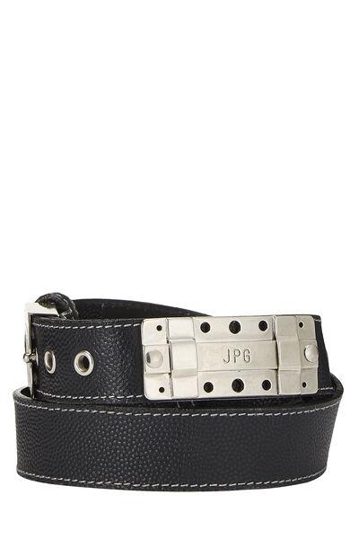 Black Leather Cutout Belt 40