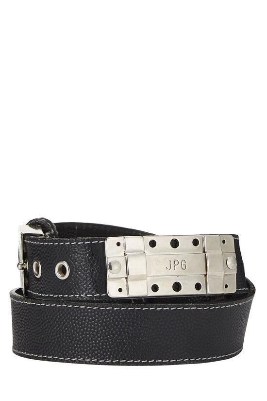 Black Leather Cutout Belt 40, , large image number 0