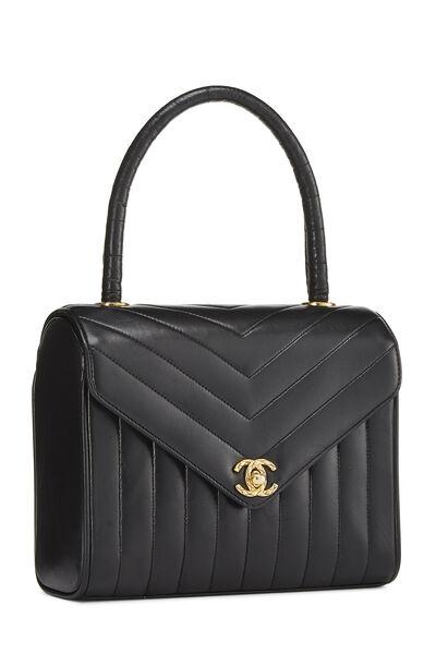 Black Chevron Lambskin Envelope Bag Small, , large