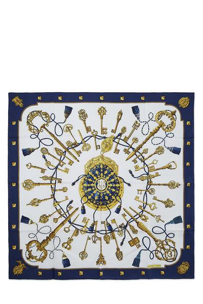 Navy & Multicolor 'Le Clefs' Silk Scarf 90
