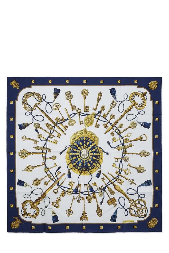 Navy & Multicolor 'Le Clefs' Silk Scarf 90, , large image number 0