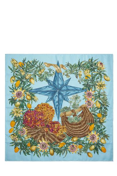 Blue & Multicolor 'Passiflores' Silk Scarf 90