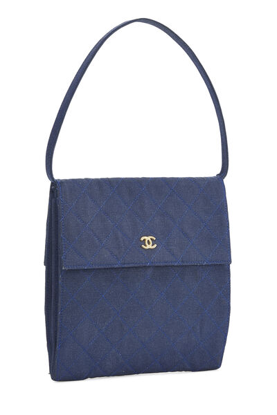 Navy Quilted Fabric Faille Handbag, , large