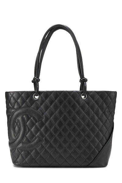 Black Quilted Calfskin Cambon Tote Large