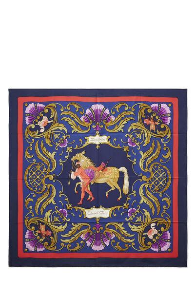 Blue & Multicolor 'Cheval Turc' Silk Scarf 90