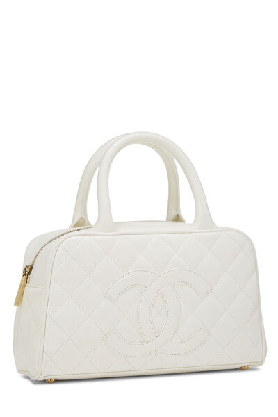 White Quilted Caviar Bowler Mini, , large
