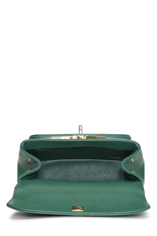 Green Quilted Caviar Business Affinity Bag Medium, , large image number 6
