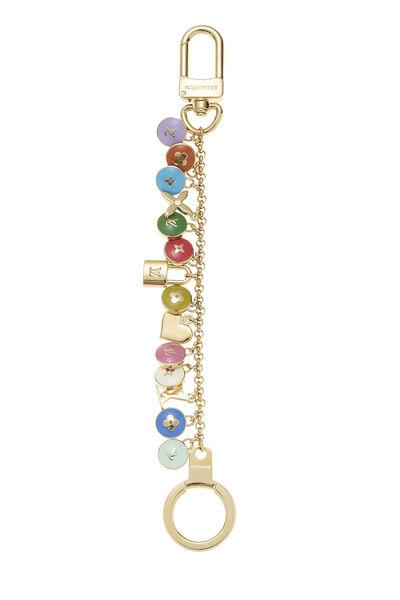Gold & Multicolor Enamel Logo Pastilles Keychain, , large