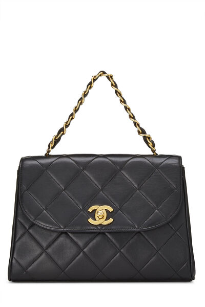 Black Quilted Lambskin Top Handle Bag