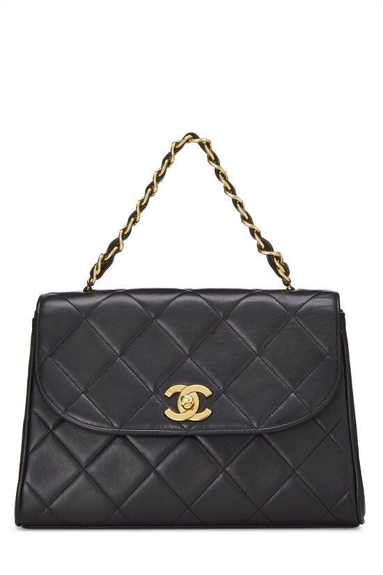 Black Quilted Lambskin Top Handle Bag, , large image number 0