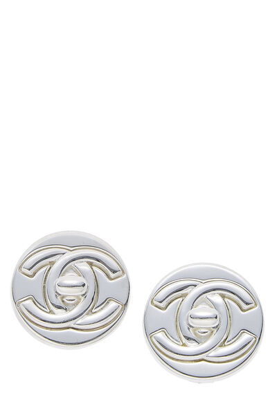 Silver 'CC' Turnlock Round Earrings Large