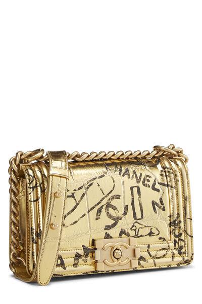 Paris-New York Gold Embossed Graffiti Boy Bag Small, , large
