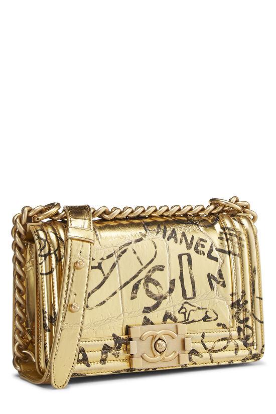 Paris-New York Gold Embossed Graffiti Boy Bag Small, , large image number 1