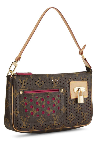 Limited Edition Pink Monogram Perforated Pochette Accessoires, , large
