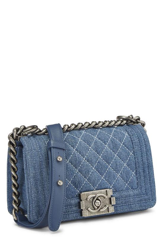 Blue Quilted Denim Boy Bag Small, , large image number 2